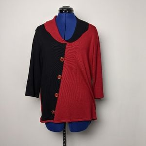 Le Madona red and black top with button detail